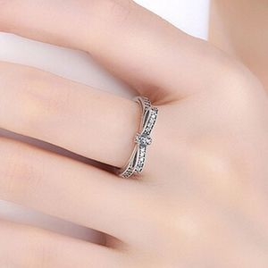 Bowknot Ribbon Sterling Silver Pave Crystal Ring